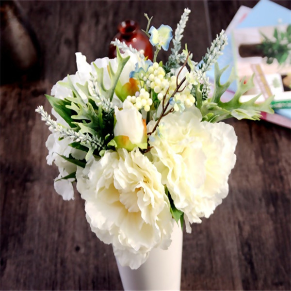 Artificial Flowers,Cream & Champagne Peony & Hydrangea Arrangement for Decoration,6Pcs/Bouquet