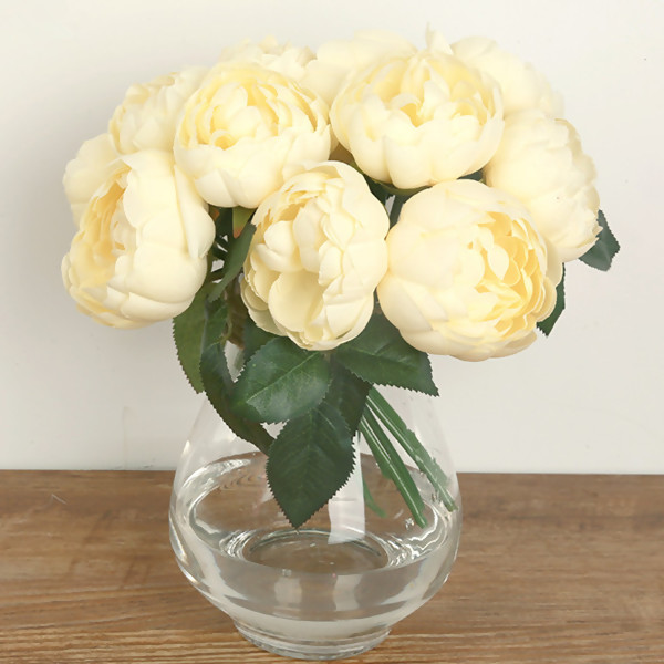 Artificial Flowers,Nice Champagne Peony Flower Bouquet for Wedding & Home Decoration,6Pc/Bouquet