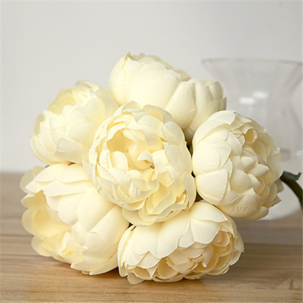 Artificial Flowers,Nice Champagne Peony Flower Bouquet for Wedding ...