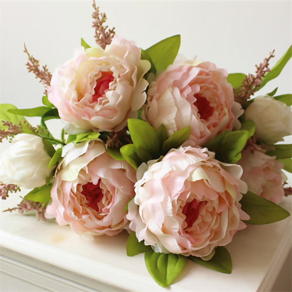 Artificial Flowers,Nice Light Pink Peony Flower Bouquet for Wedding & Home Decoration(7 Flower Heads),1Pc